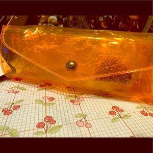 Neon orange clear purse/clutch